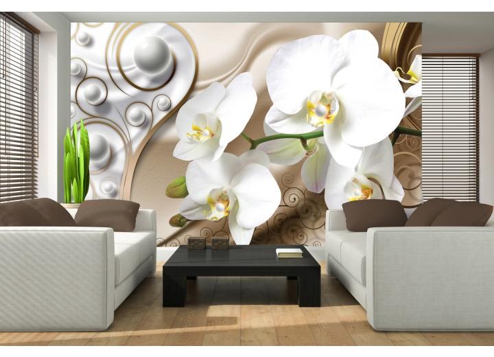 Fotobehang Vlies | Orchidee, Bloemen | Zilver, Goud | 368x254cm (bxh)