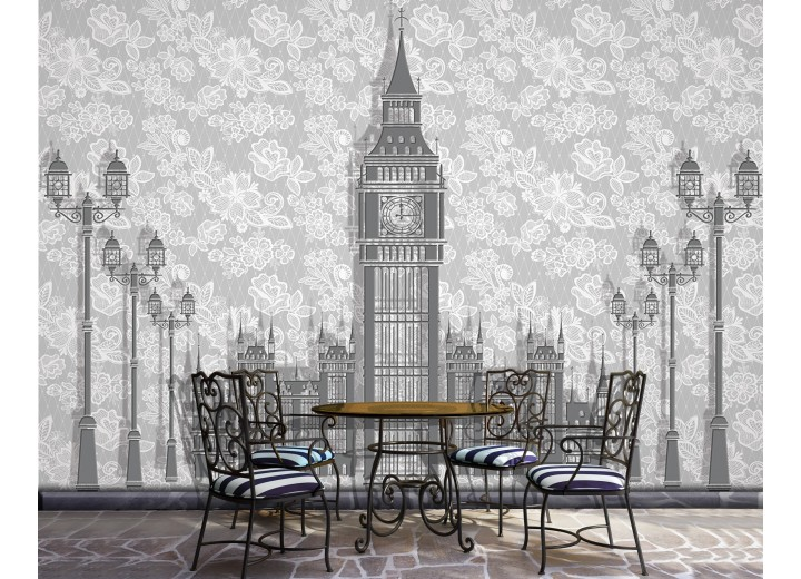 Fotobehang Big Ben | Grijs | 152,5x104cm