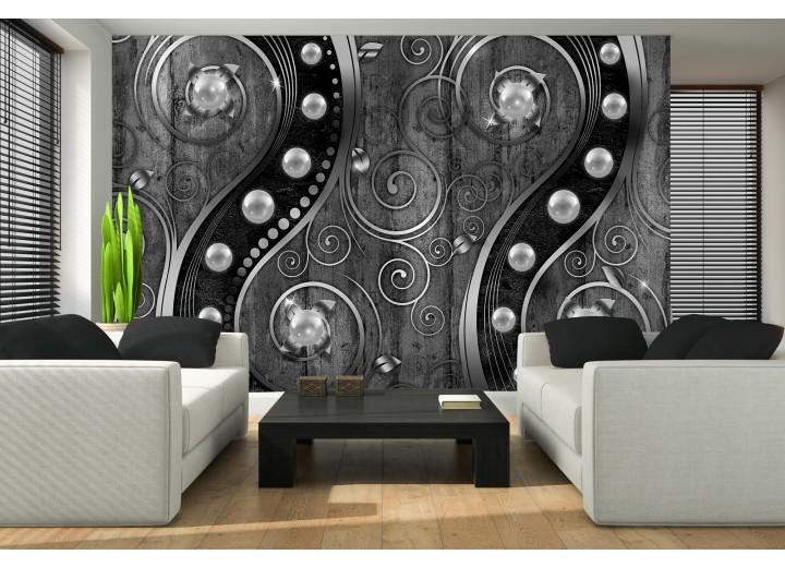 Fotobehang Papier Modern | Zilver, Zwart | 368x254cm
