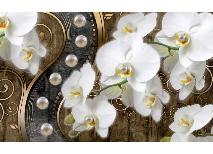 Fotobehang Papier Orchidee, Bloemen | Wit, Goud | 254x184cm