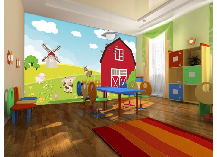 Fotobehang Kinderboerderij | Rood, Groen | 416x254