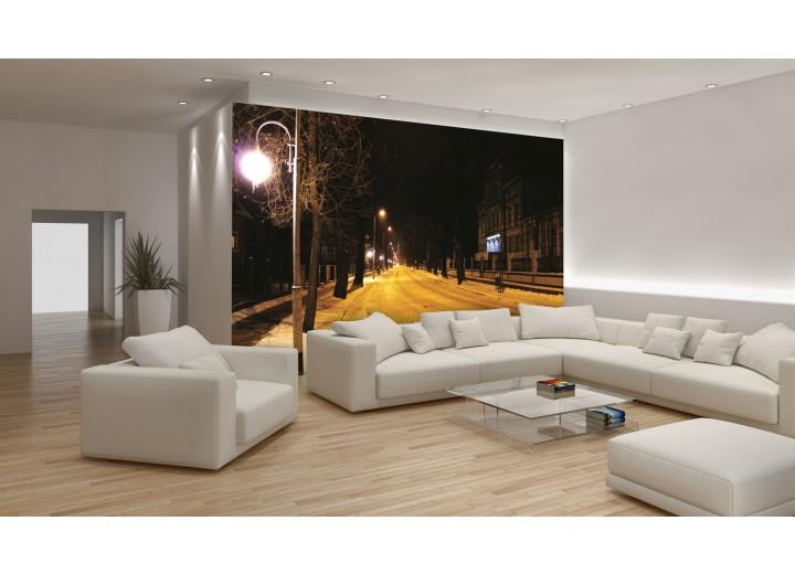 Fotobehang Papier Straat | Geel, Zwart | 368x254cm