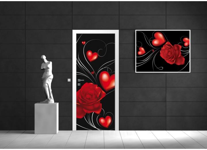Fotobehang Bloemen | Rood, Zwart | 91x211cm