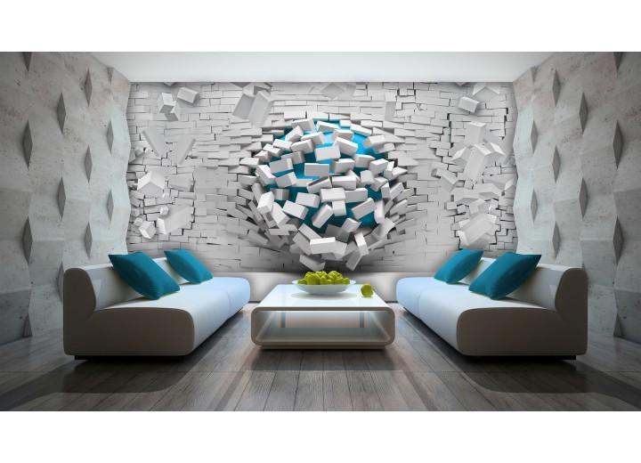 Fotobehang Papier 3D, Muur | Blauw, Wit | 368x254cm