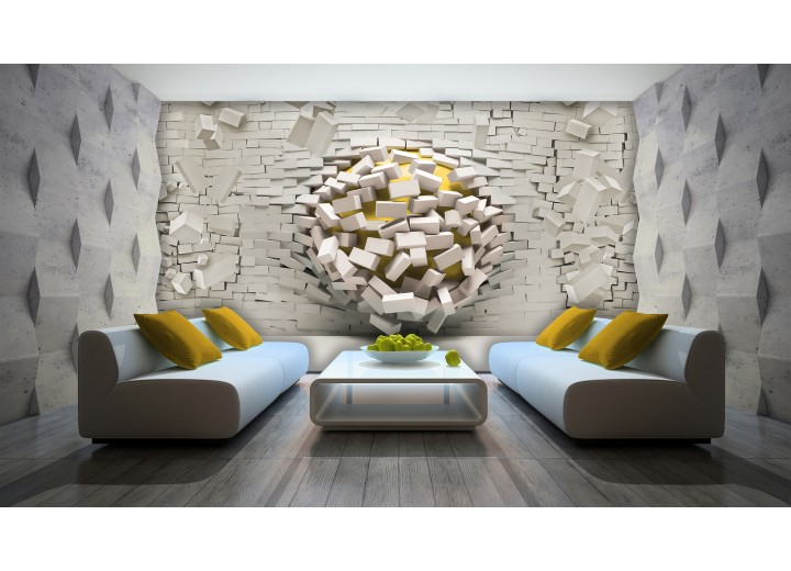 Fotobehang 3D, Muur | Geel, Crème | 104x70,5cm
