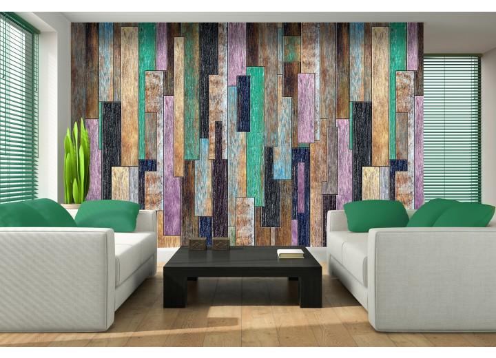 Fotobehang Hout, Landelijk | Groen, Paars | 104x70,5cm