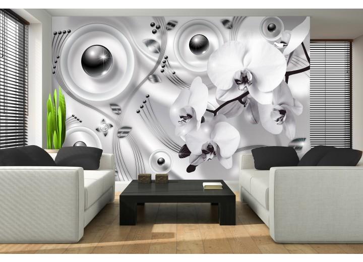 Fotobehang Papier Modern, Orchidee | Zilver | 254x184cm