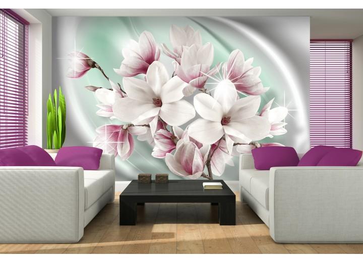 Fotobehang Magnolia, Bloemen | Zilver | 208x146cm