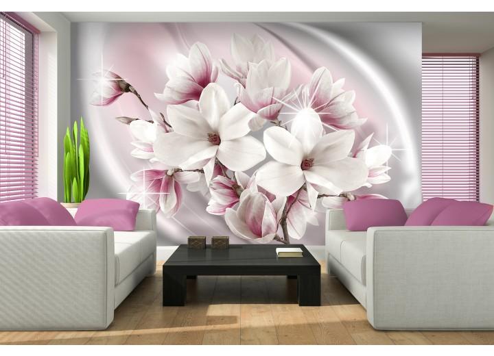 Fotobehang Papier Magnolia, Bloemen | Roze | 254x184cm