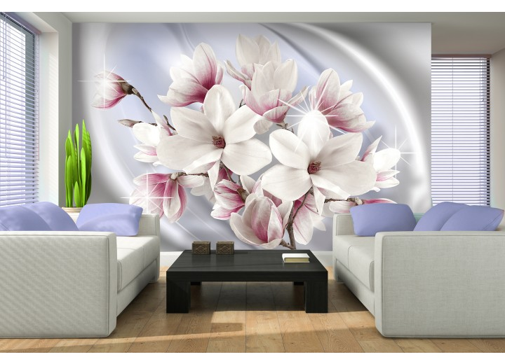 Fotobehang Magnolia, Bloemen | Zilver | 104x70,5cm