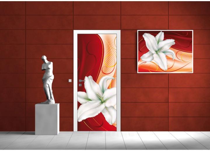 Fotobehang Bloem   Oranje, Rood   91x211cm