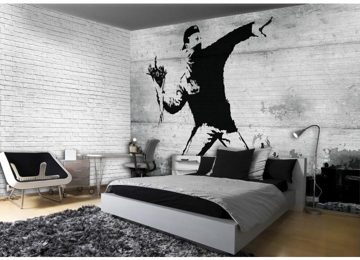 Fotobehang Papier Street Art | Grijs | 254x184cm