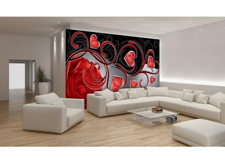 Fotobehang Roos, Modern | Rood | 416x254