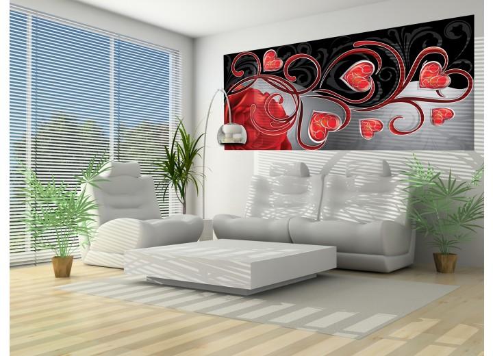 Fotobehang Roos, Modern | Rood | 250x104cm