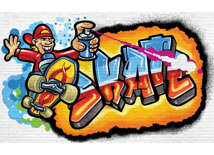 Fotobehang Papier Graffiti   Blauw, Oranje   368x254cm