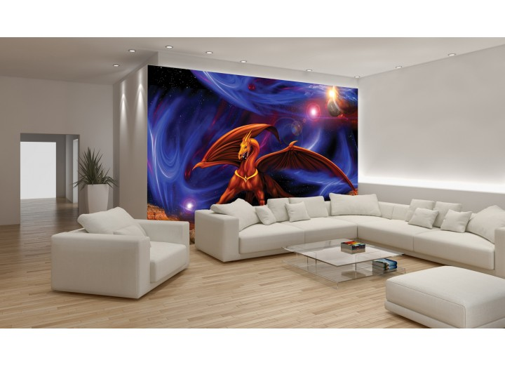 Fotobehang Universum, Drak | Blauw | 208x146cm