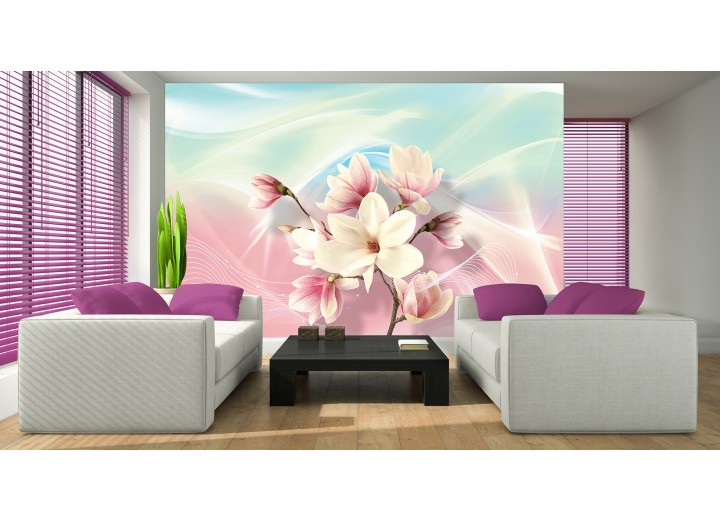 Fotobehang Magnolia, Bloem | Roze | 208x146cm