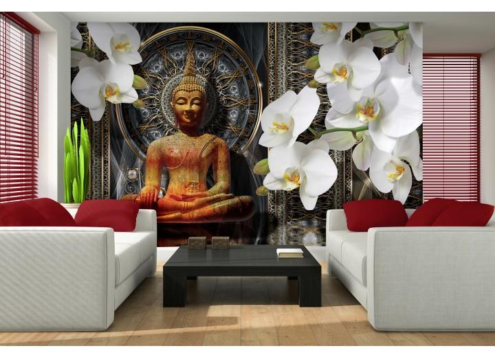 Fotobehang Boeddha, Orchidee | Bruin | 152,5x104cm