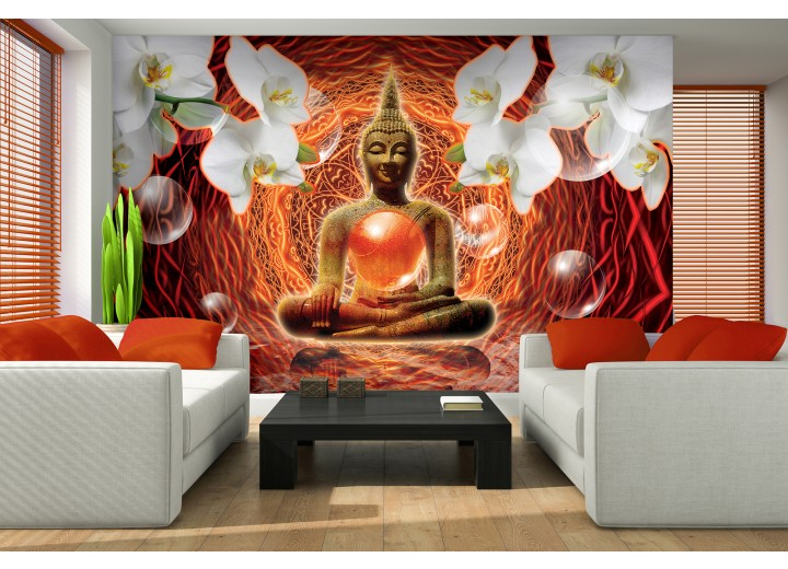 Fotobehang Boeddha, Orchidee | Oranje | 208x146cm