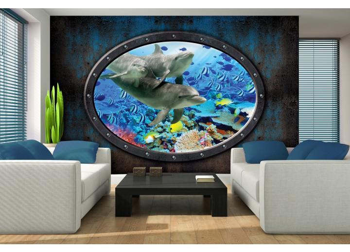 Fotobehang Dolfijnen | Blauw | 104x70,5cm