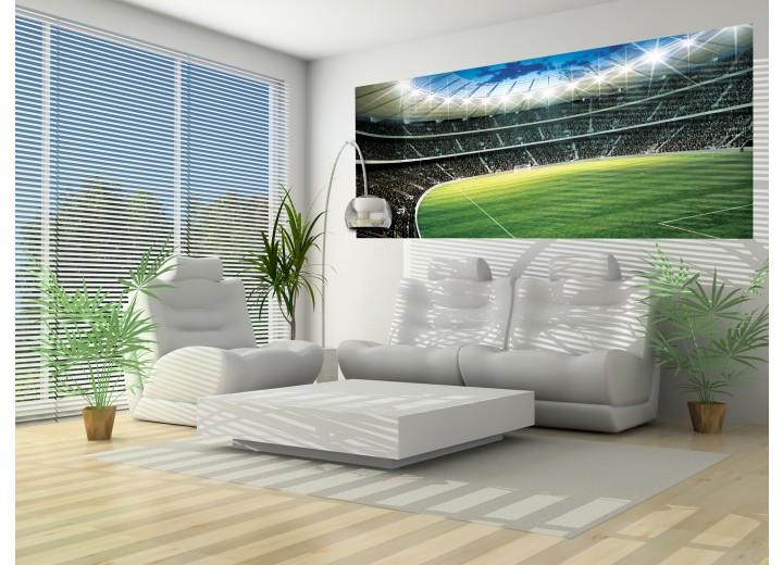 Fotobehang Voetbalveld   Groen   250x104cm