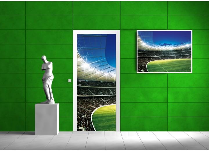 Deursticker Muursticker Voetbal | Groen | 91x211cm