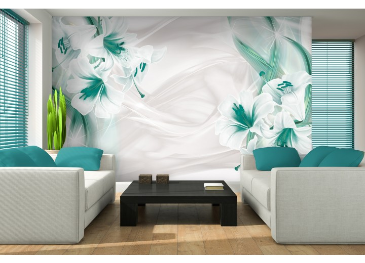 Fotobehang Bloemen, Modern | Groen | 312x219cm