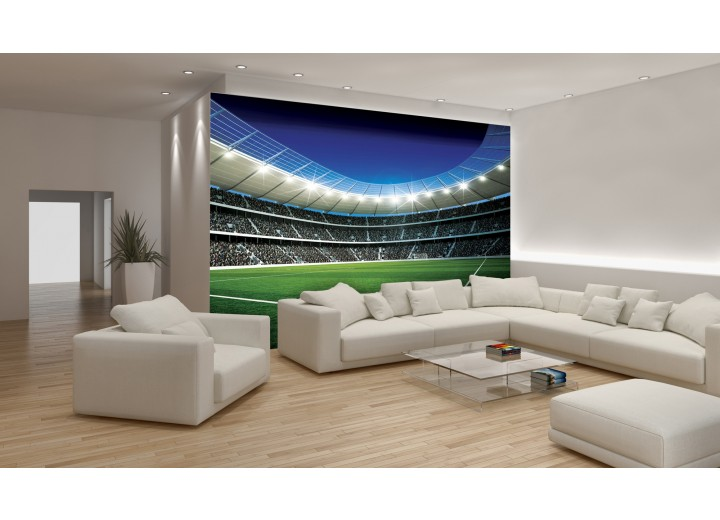 Fotobehang Voetbalveld | Blauw, Groen | 152,5x104cm