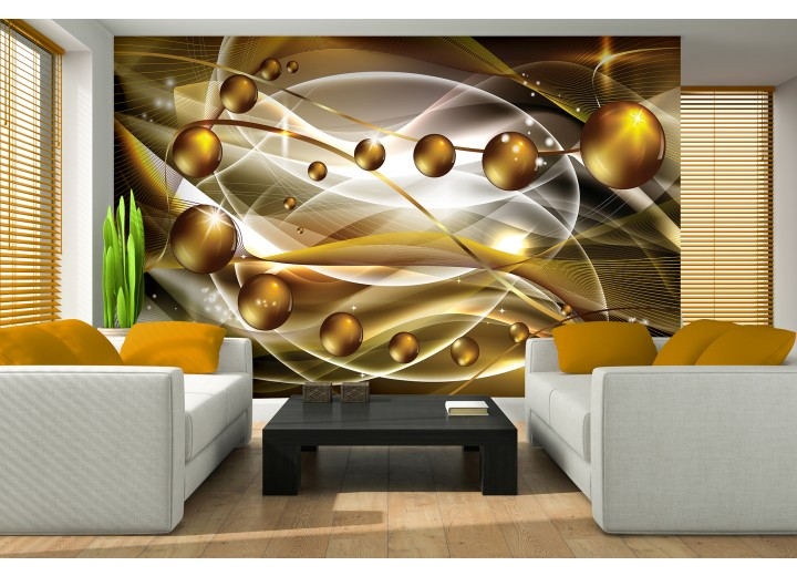 Fotobehang 3D, Modern | Goud | 416x254