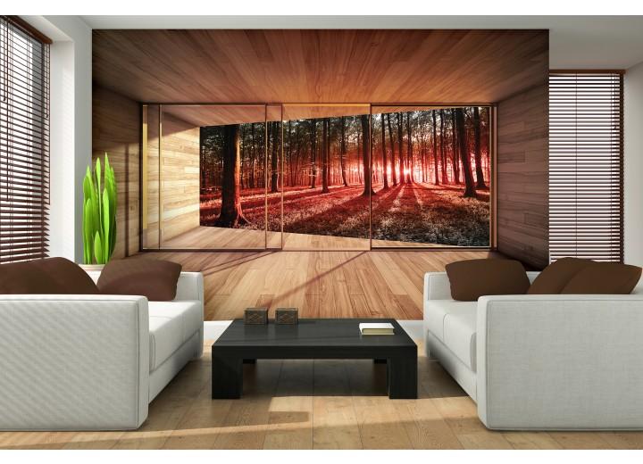 Fotobehang Papier Bos, Modern | Rood | 368x254cm