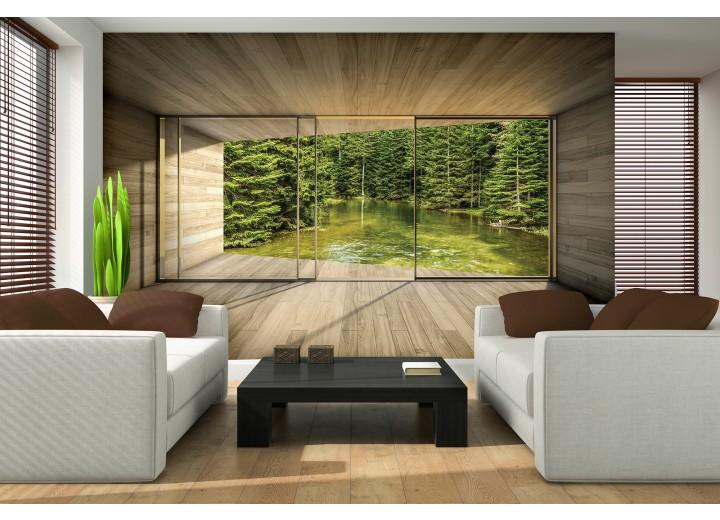 Fotobehang Papier Bos, Modern | Groen | 254x184cm