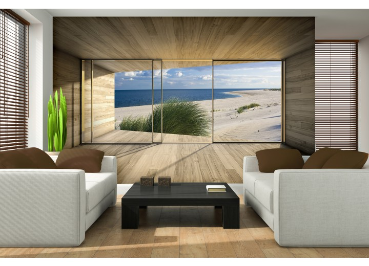 Fotobehang Strand, Modern | Blauw | 208x146cm
