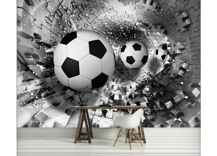Fotobehang Voetbal | Zwart, Wit | 416x254