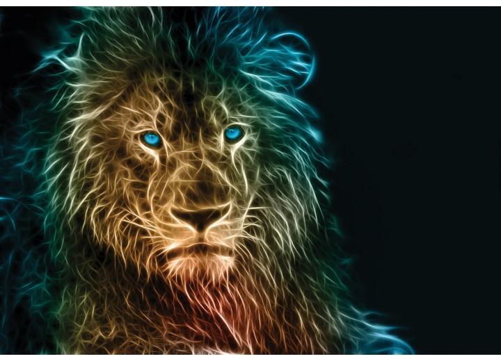 Fotobehang Vlies | Leeuw | Zwart, Geel | 368x254cm (bxh)