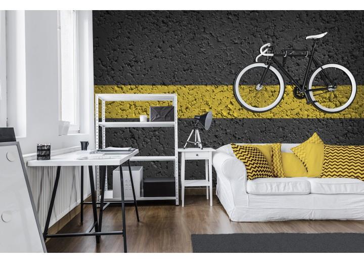 Fotobehang Vlies | Fiets | Geel, Zwart | 368x254cm (bxh)