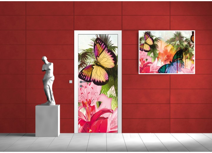 Fotobehang Vlinder | Roze | 91x211cm