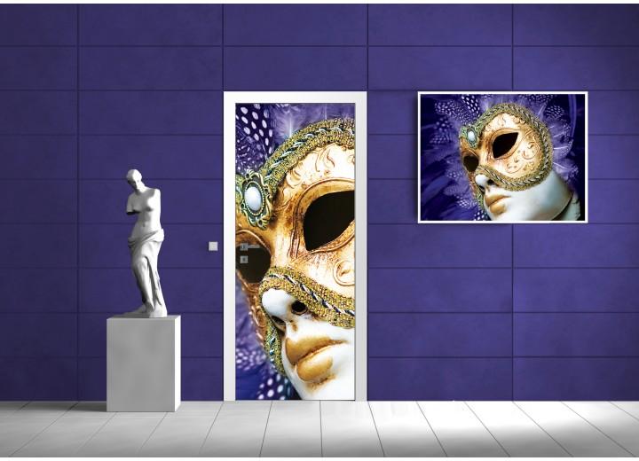 Deursticker Muursticker Abstract | Paars | 91x211cm