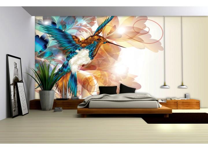 Fotobehang Vogel, Abstract   Crème   104x70,5cm