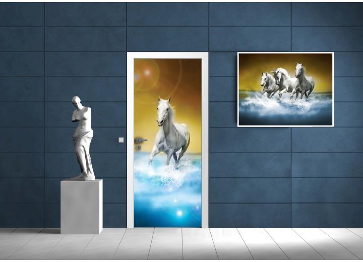 Fotobehang Paarden | Blauw, Bruin | 91x211cm