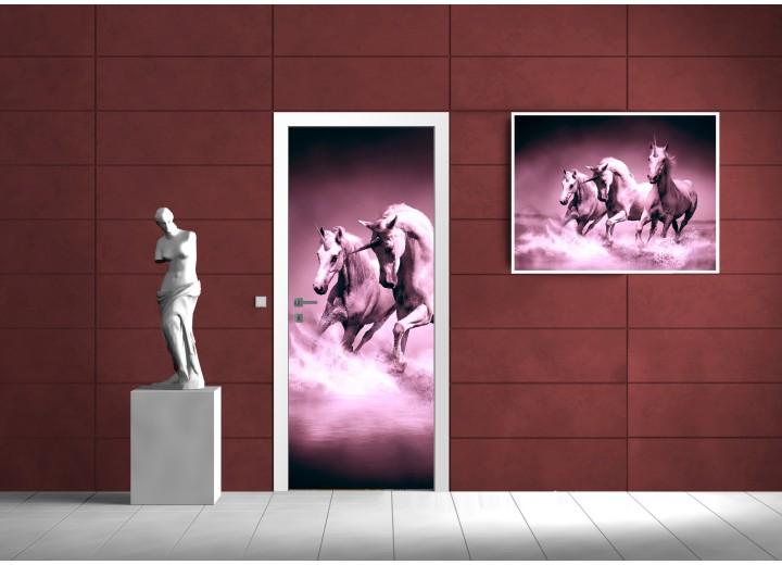 Fotobehang Paarden | Paars | 91x211cm