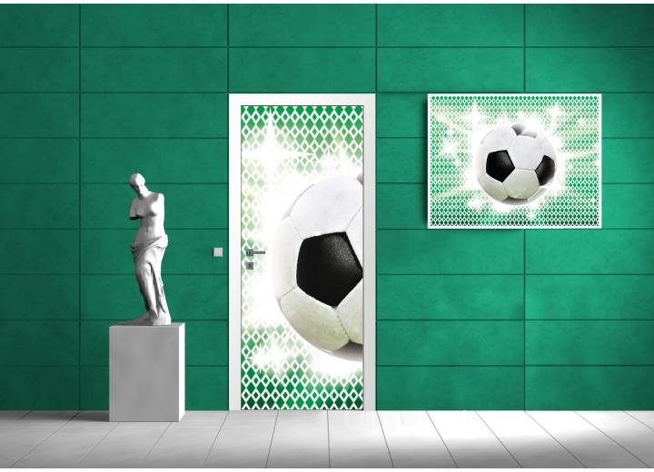 Fotobehang Voetbal   Groen, Wit   91x211cm