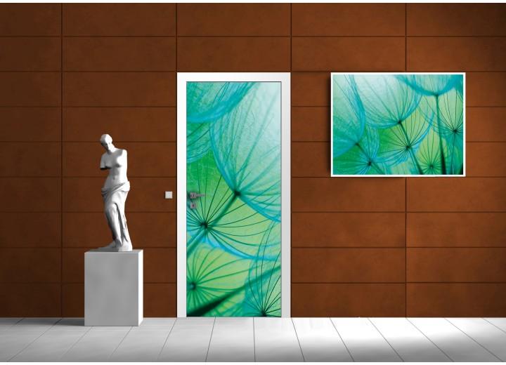 Fotobehang Bloemen | Turquoise | 91x211cm