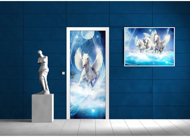 Fotobehang Paard, Abstract | Blauw | 91x211cm