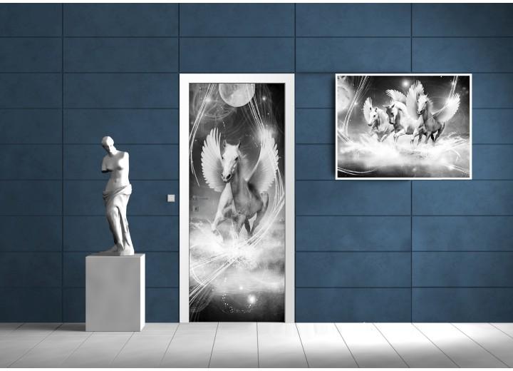 Fotobehang Paard, Abstract | Grijs | 91x211cm