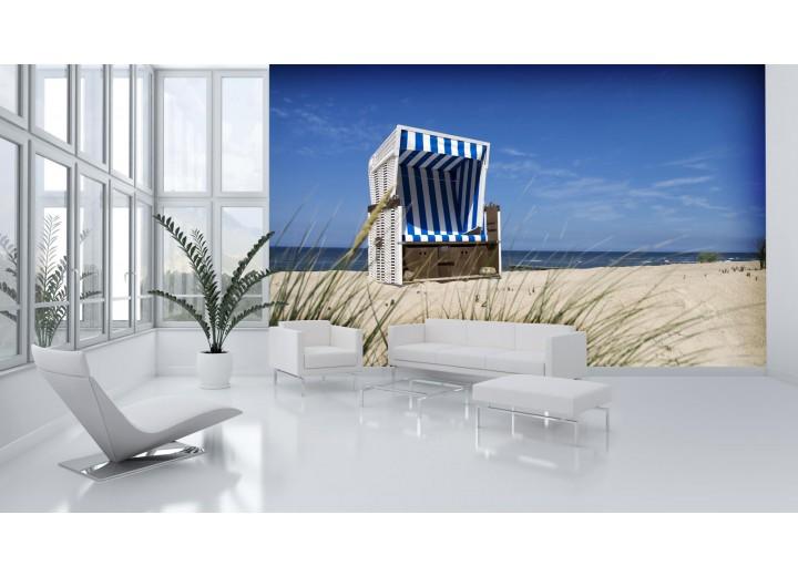 Fotobehang Papier Strand | Blauw | 254x184cm