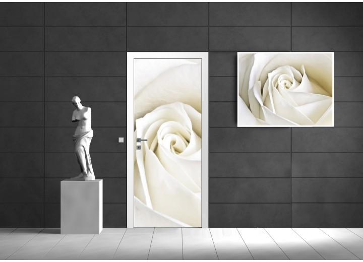 Fotobehang Bloemen, Roos | Wit | 91x211cm