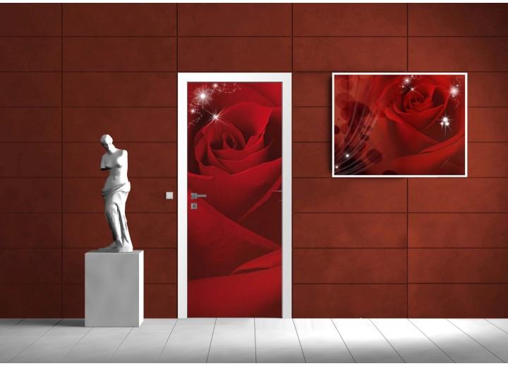 Fotobehang Bloemen, Roos | Rood | 91x211cm