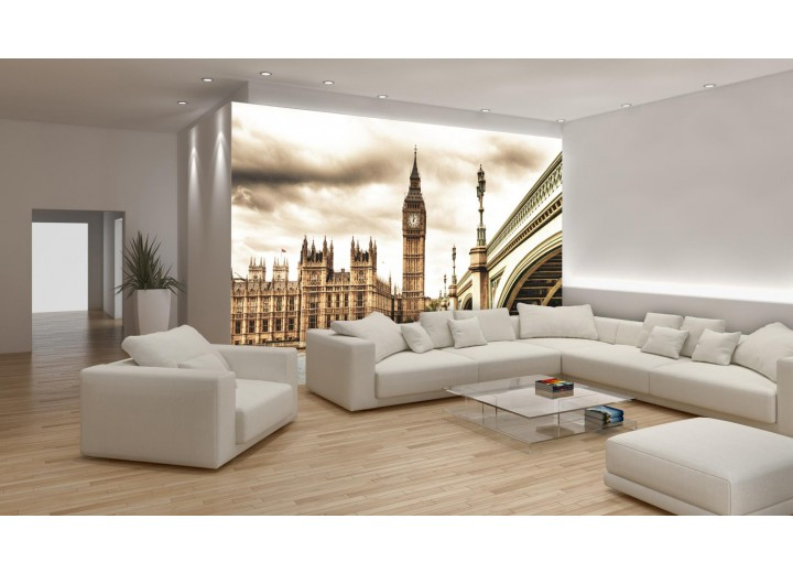 Fotobehang London | Sepia | 312x219cm