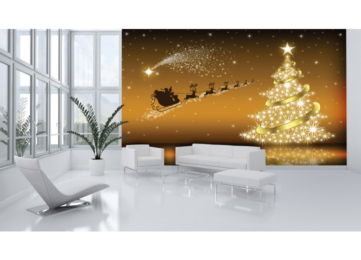 Fotobehang Vlies | Kerst | Goud | 368x254cm (bxh)