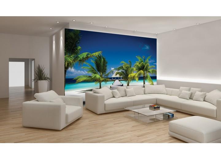 Fotobehang Tropisch | Blauw, Groen | 152,5x104cm